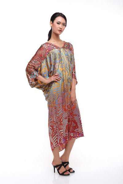 Milo's - Rent: Milo's Arabian Batik Silk Draped Dress-The Dresscodes - 1