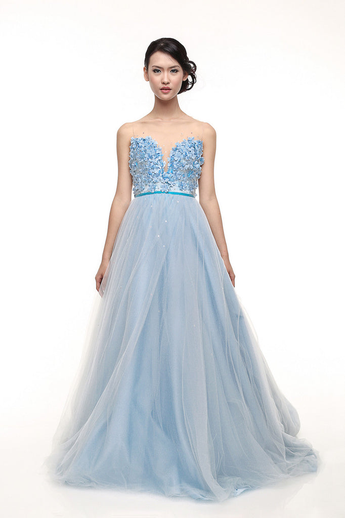 Monica Ivena - Rent: Monica Ivena Iceberg Blue Sweetheart Ball Gown-The Dresscodes - 1