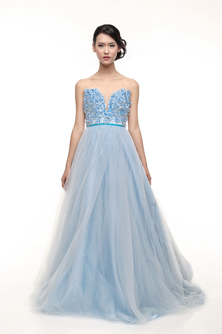 Monica Ivena - Buy: Iceberg Blue Sweetheart Ball Gown-The Dresscodes - 1