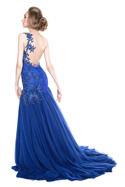 Monica Ivena - Buy: Blue Tulle Mermaid Gown-The Dresscodes - 1