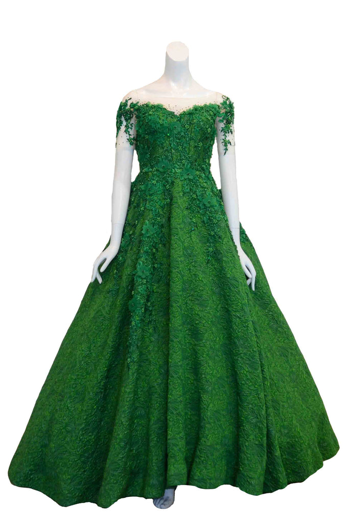 Rent: Monica Ivena - Emerald Short Sleeves Floral Jacquard Ball Gown