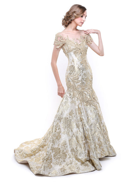 Monica Ivena - Buy: Golden Pearl Jacquard Gown-The Dresscodes - 1