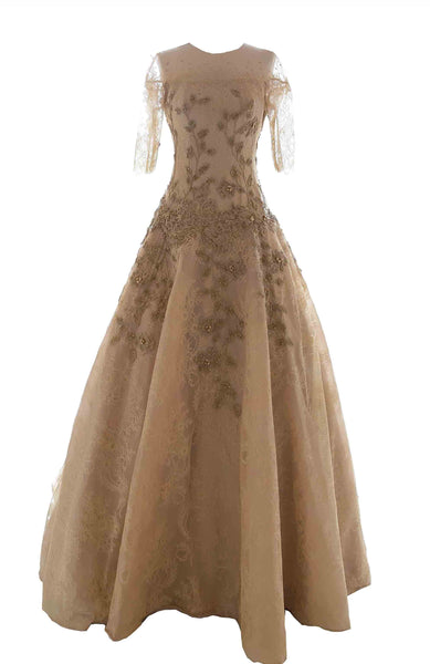 Rent: Monica Ivena - Golden Half Sleeves Ball Gown