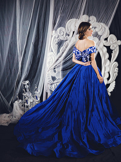 Monica Ivena - Buy: Blue Off-Shoulder Ball Gown-The Dresscodes - 1