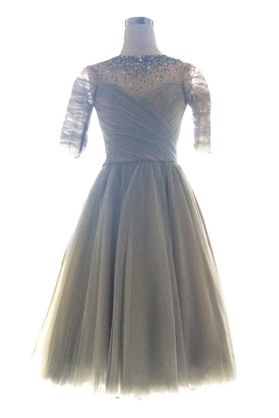 Rent : Nancy and Warren - Grey Tulle Midi Dress