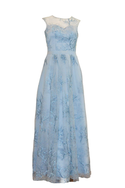Rent: Natalie Sugandi Dusty Blue A-Line Embroidery Gown