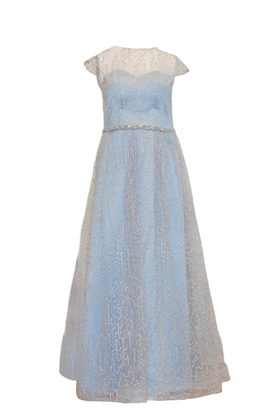 Rent: Natalie Sugandi Dusty Blue A-Line Waist Beaded Gown