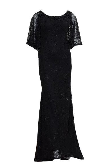 Rent: Long Black Beads Cape Gown
