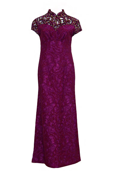 Rent: Purple Beaded Lace Cheongsam Gown