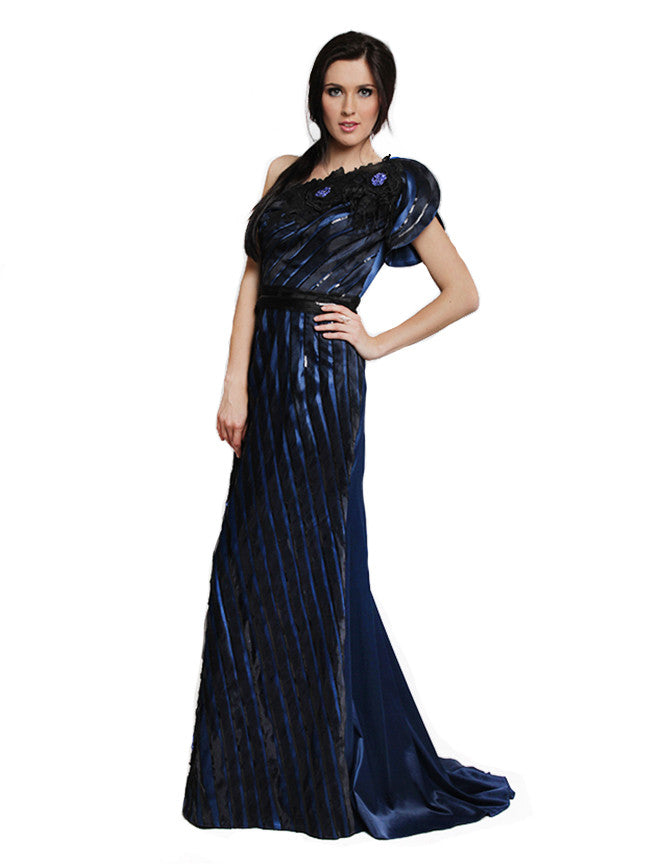 Optimum - Rent: Optimum One Shoulder Gown with Ostrich Feathers-The Dresscodes - 1