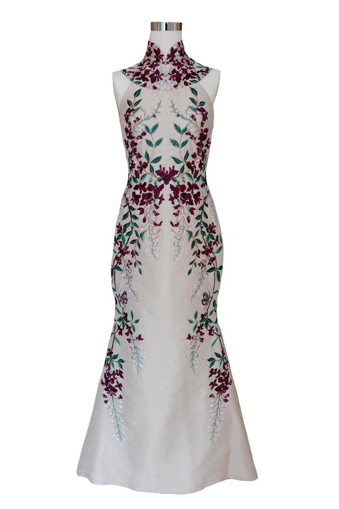 Rent: Anrini Polim Purple Cheongsam Flower Gown