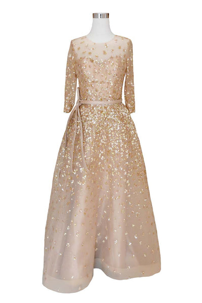 Rent: Yefta Gunawan Rose Gold Longsleeve Aline Gown With Belt