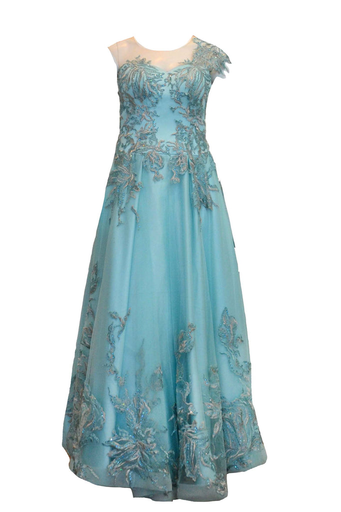 Sale: Priska Henata Blue Embroidered with Tulle Beaded Gown