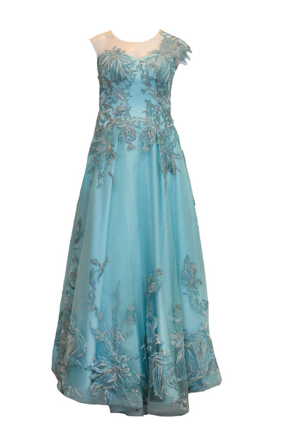 Rent: Priska Henata Blue Embroidered with Tulle Beaded Gown