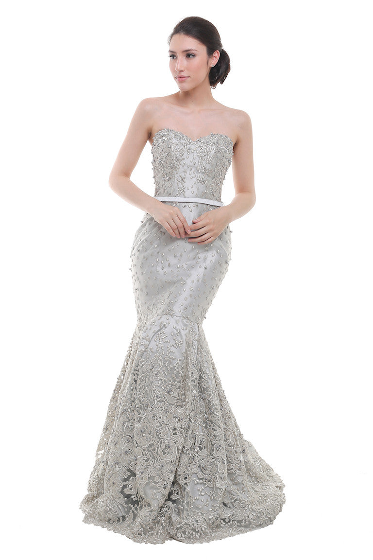Priska Henata - Buy: Silver Sweetheart Embellished Mermaid-The Dresscodes - 1