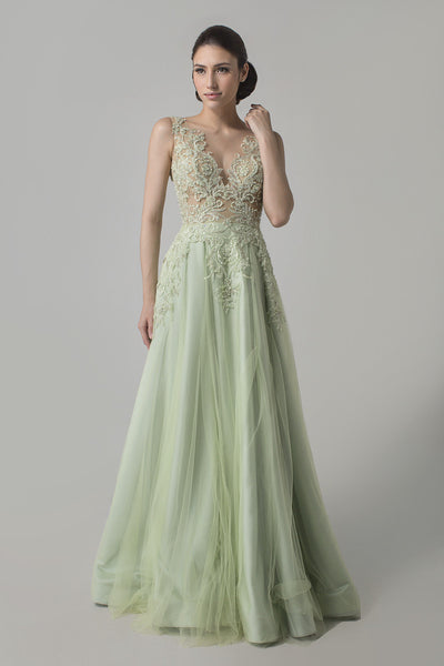 Priska Henata - Buy: Pastel Green Embroidered Tulle Gown-The Dresscodes - 1