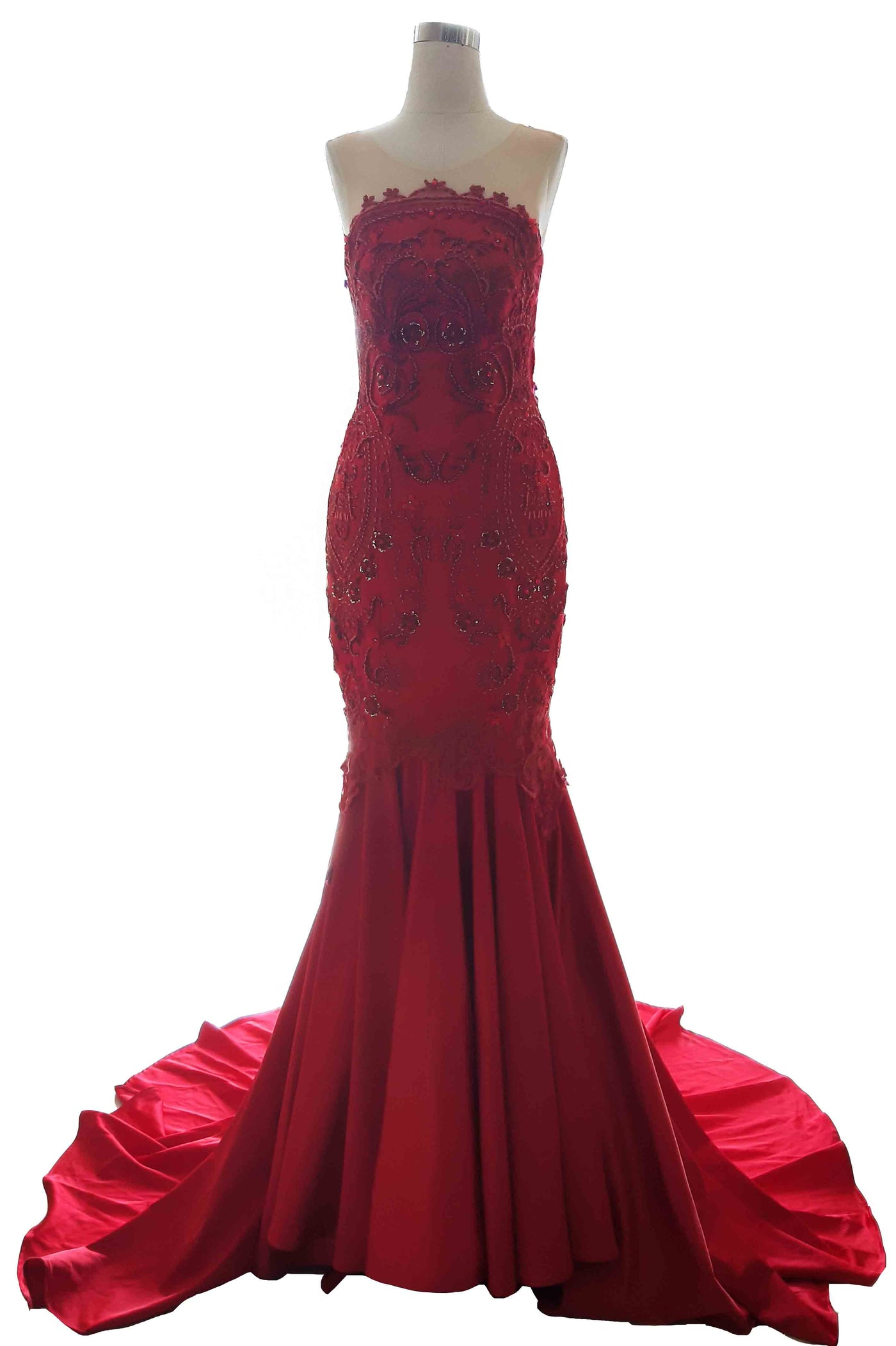 Rent: Private Label - Curved Strapless Red Mermaid Gown