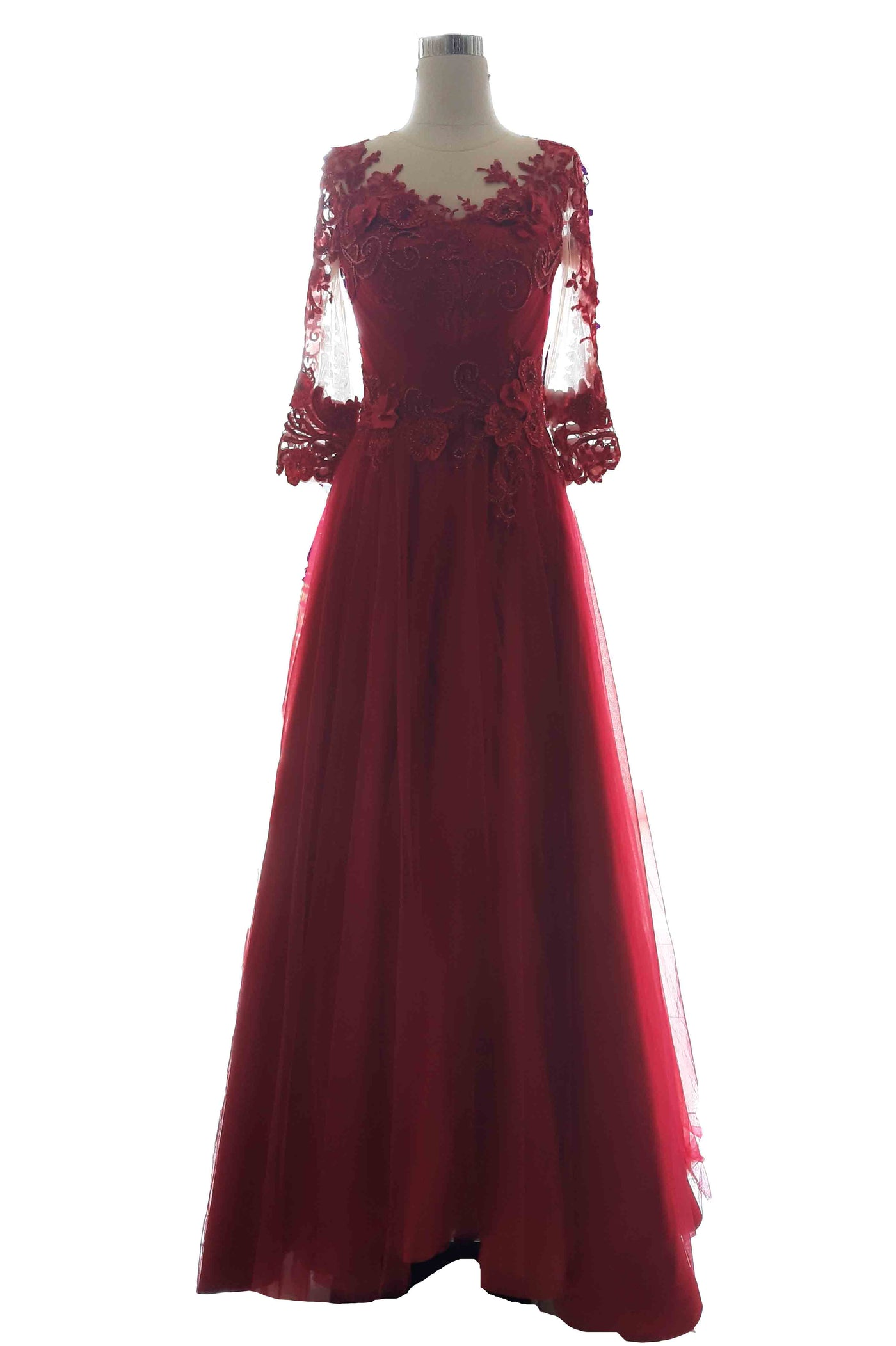 Rent: Private Label - Red 3/4 Lace Sleeves A-Line Gown