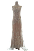 Rent: Private Label - Sleeveless Sweetheart Embroidered White on Nude Dress