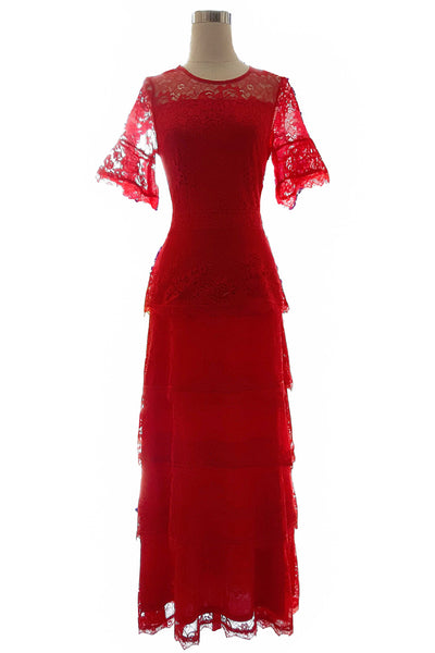 Rent : Private Label - Red Layered Lace Dress