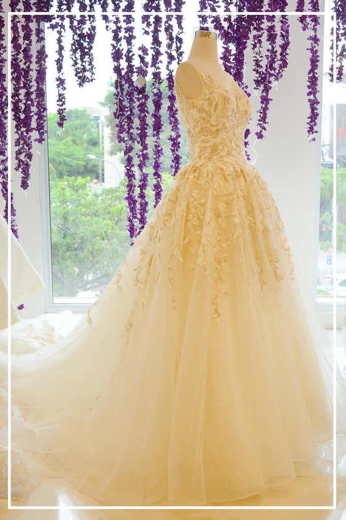 Rent: Beige Golden Leaf Wedding A-Line Gown