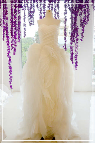 Rent: White Ruffles Organza Ball Gown
