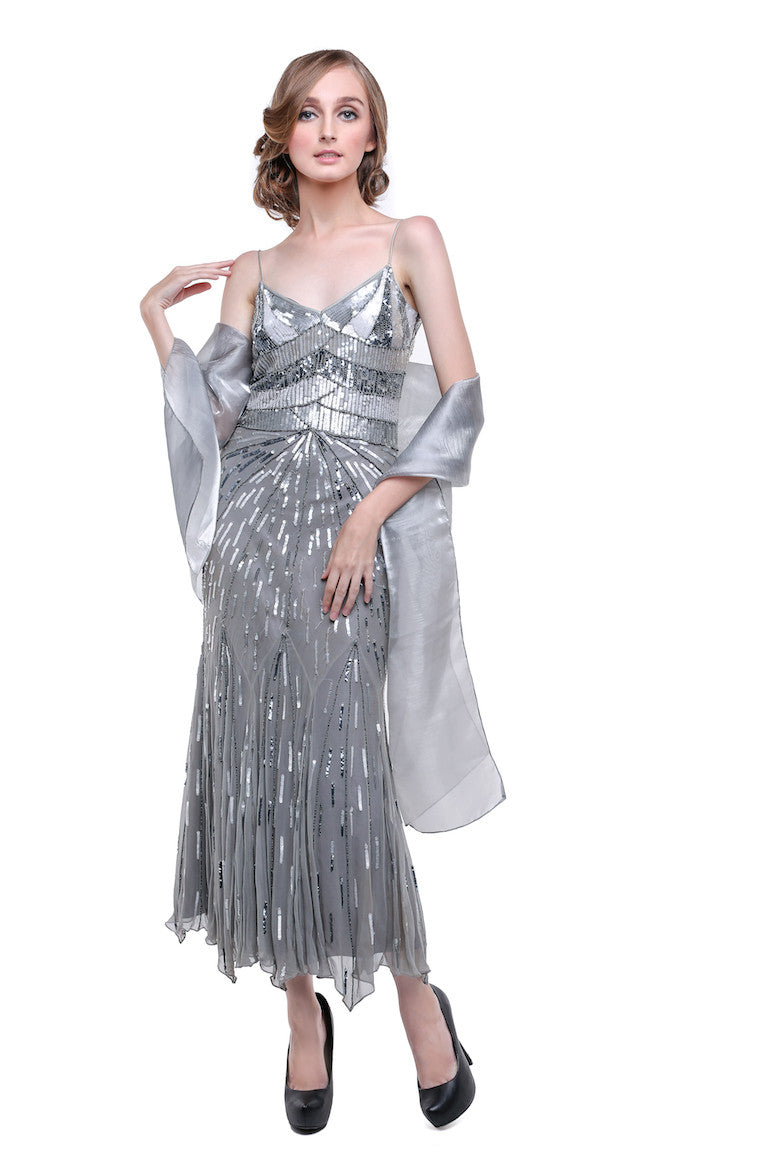 Papell Boutique - Sale : Papell Silver Sequin Dress-The Dresscodes - 1
