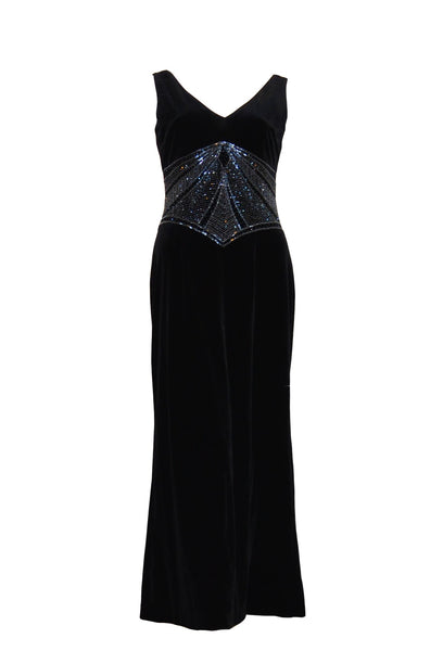Rent: Papell Boutique Black Velvet Dress with Beaded