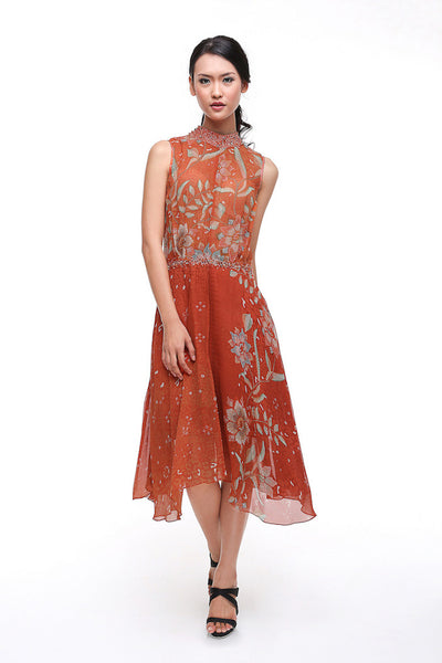 Parang Kencana - Buy: Parang Kencana Orange Silk Batik Chiffon-The Dresscodes - 1
