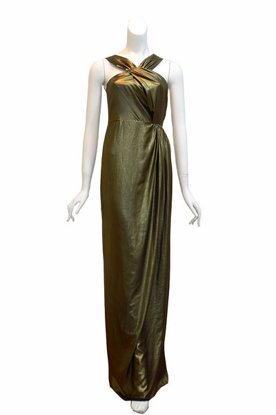 Buy: Dark Gold Halter Lame Dress