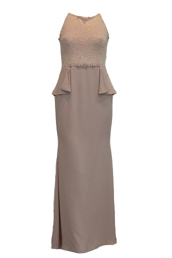 Rent : Peaches Pinkish - Halter Neck with Beaded Mermaid Gown