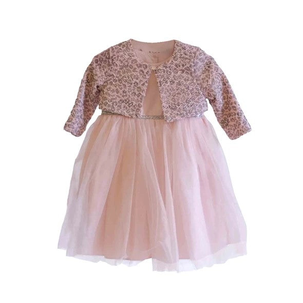 Rent : Pippa & Julie - Pink Tulle Waist Band Glitter Dress With Bolero
