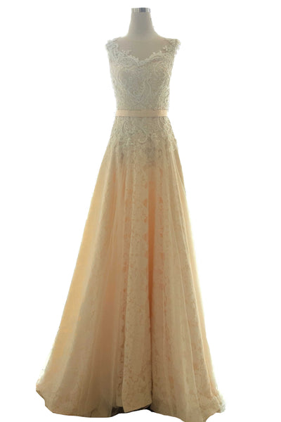 Buy : Private Label - Beige A Line Gown With Long Train