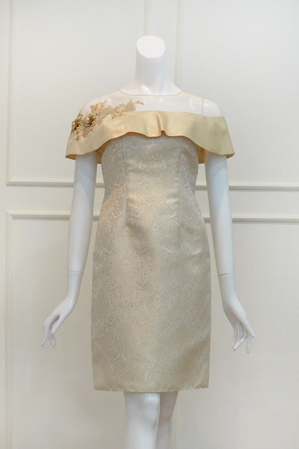 Buy: Private Label Gold Champagne Off Shoulder Tulle Dress