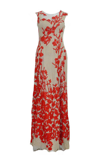 Rent : Red Flower Embroidery Dress