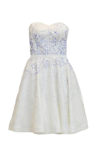 Rent: Private Label - White Sweetheart with Blue Beaded Lace Gown