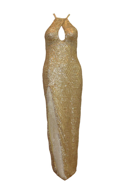 Sale: RSVP - Gold Sequins Evening Dress with Slit