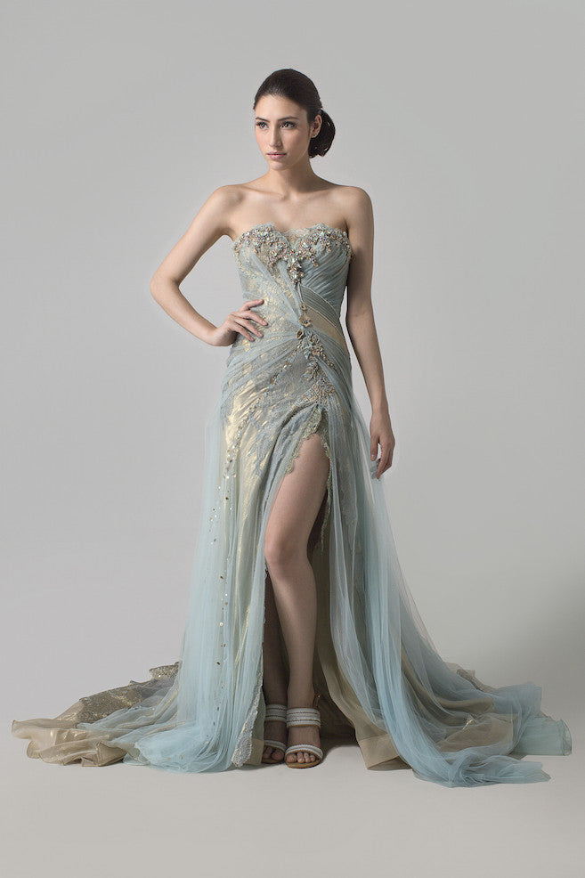 Rusly Tjohnardi - Rent: Rusly Tjohnardi Metallic Tifany Blue Strapless Tulle Gown-The Dresscodes - 1