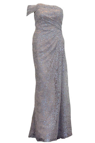 Rent : Rachm Design - Silver Off Shoulder Glitter Gown