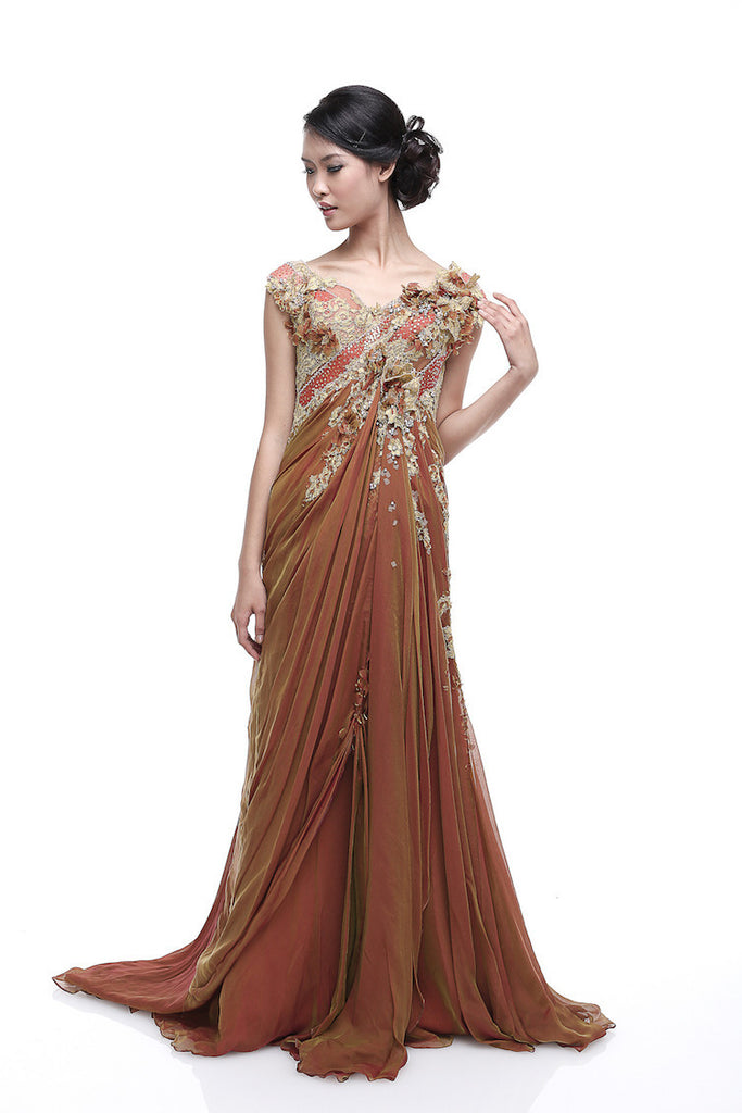 Rusly Tjohnardi - Buy: Rusly Tjohnardi Golden Brown Chiffon Gown-The Dresscodes