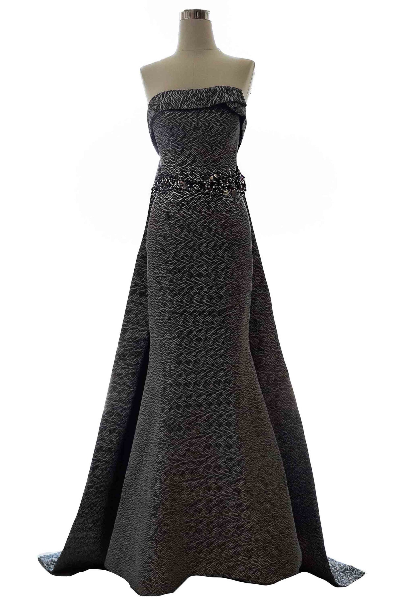 Rent: Stella Lunardy - Strapless Dark Grey A Line Dress With Brooch