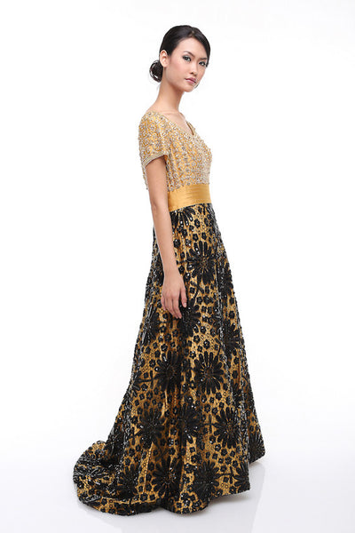 Sebastian Gunawan - Rent: Sebastian Gunawan Short Sleeves Golden Gown-The Dresscodes - 1