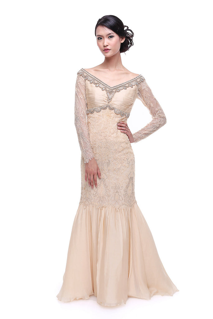 Sebastian Gunawan - Rent: Sebastian Gunawan Long Sleeves Cream Lace Gown-The Dresscodes - 1