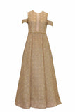Rent: Sebastian Gunawan Off Shoulder Golden Dior Pattern Gown