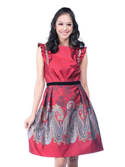 Red by Sebastian Gunawan - Rent: Sebastian Red Batik Dress-The Dresscodes - 1