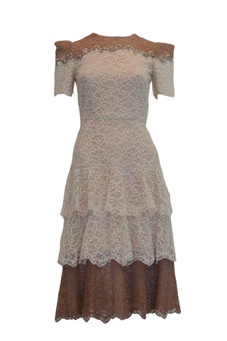 Sale: Sebastian Gunawan Beige Short Sleeves Lace Dress