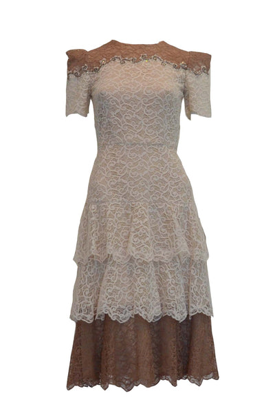 Rent: Sebastian Gunawan Beige Short Sleeves Lace Dress