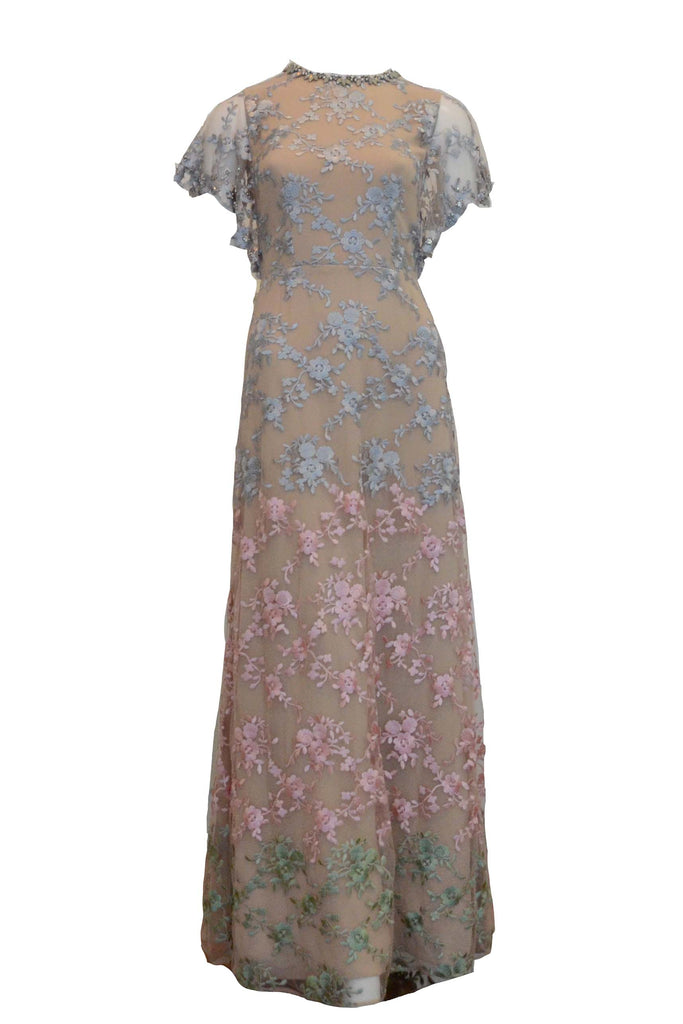 Rent: Sebastian Gunawan Beige Short Sleeves Embellishment Flower Gown