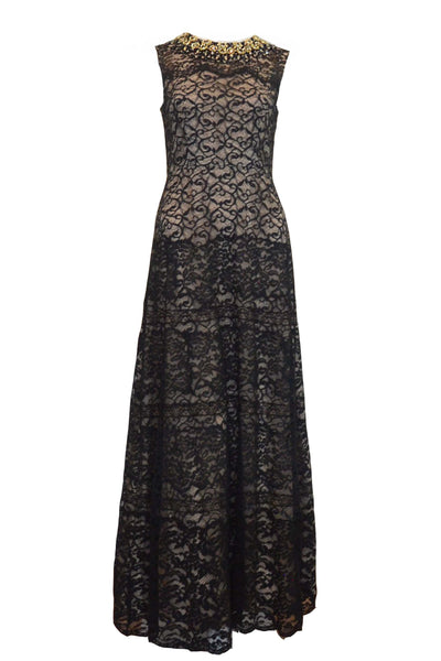 Rent: Sebastian Gunawan Black Lace with Beaded Neck Long Dress