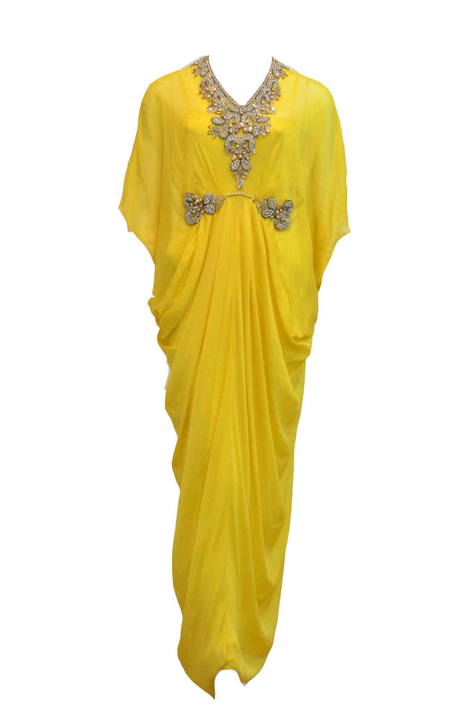 Rent: Sebastian Gunawan - Yellow Kaftan with V Neck and Waist Band